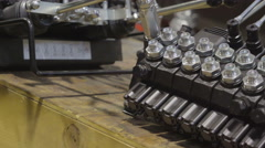The lever controllers of the hydraulic machine - stock footage