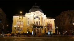 4K Comedy Theatre in Budapest Hungary at Night 1 Stock Footage