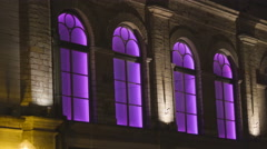 The purple lights inside the building Stock Footage