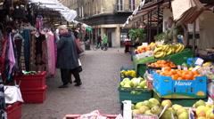 Cambridge town center farmers market England 4K Stock Footage