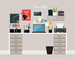 Flat  design of  home office interior with desk and laptop Stock Illustration
