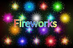 Holiday Fireworks Set Stock Illustration