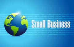 small business binary globe sign concept - stock illustration