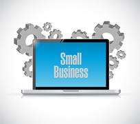 Small business computer sign concept illustration Stock Illustration