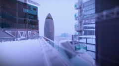 London in night with stormy lightnings and rain, Swiss Reinsurance Headquarter Stock Footage