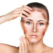 Make up woman face. Contour and Highlight makeup. - stock photo