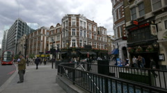 Liverpool street with The Woodins Shades pub in London - stock footage