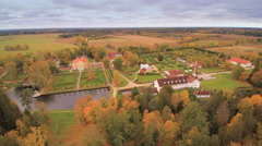 Landscape aerial shot of the Palmse manor Stock Footage