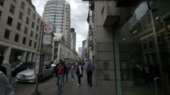 Walking on Gracechurch, near the Barclays Bank in London Stock Footage