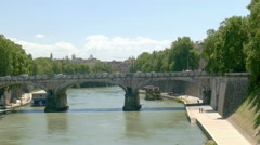 Bridge over river tiber in rome Stock Footage