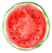 hand-drawn sliced watermelon - stock illustration
