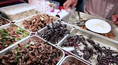 Exotic Thai food - fried and roasted insects including scorpions Stock Footage