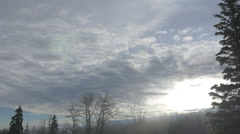 4k Time Lapse Sunrise Winter Sky Clouds Fir Trees Sunlight Lens Flare - stock footage