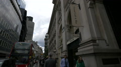 Threadneedle St with shops in London Stock Footage