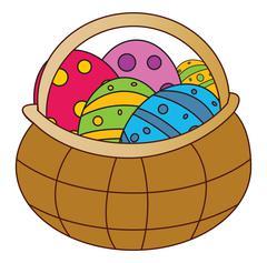 Easter basket with egg vector symbol , icon  design. Spring illustration isol - stock illustration
