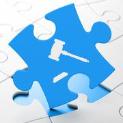 Law concept: Gavel on puzzle background - stock illustration