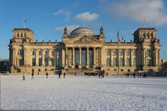 Facade view of the Reichstag (Bundestag) building in Berlin, Germany - winter - stock photo