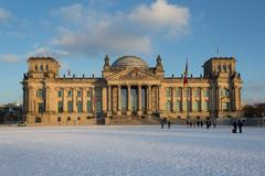 Facade view of the Reichstag (Bundestag) building in Berlin, Germany Stock Photos
