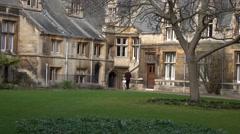 Cambridge University England college courtyard garden 4K Stock Footage