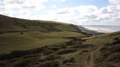 Sandymouth coast North Cornwall England UK towards Bude UK Stock Footage