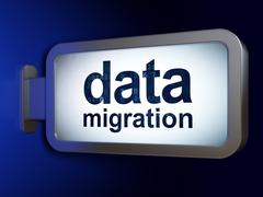 Information concept: Data Migration on billboard background Stock Illustration