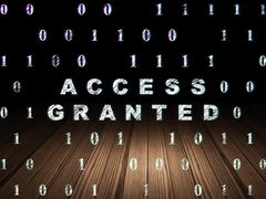 Privacy concept: Access Granted in grunge dark room - stock illustration