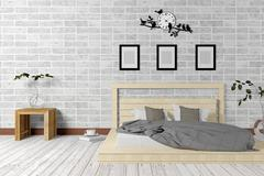 White minimal and loft style bedroom interior in simple living concept - stock illustration