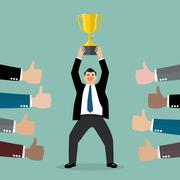 Crowd praise businessman holding up a winning trophy - stock illustration