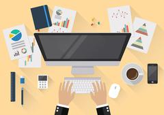 Top view of creative office workspace - stock illustration
