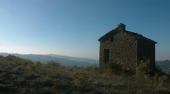 Traditional rural stone house at the top of an hill Stock Footage