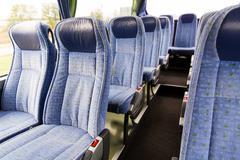 travel bus interior and seats - stock photo