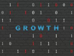 Business concept: Growth on wall background - stock illustration