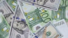 Rotating Money Euro Dollars Stock Footage