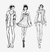 SKETCH. Fashion girl Stock Illustration