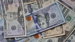 Rolling Us Dollar Notes Background Stock Footage