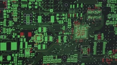 Computer model of digital printed circuit board Stock Footage