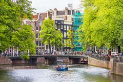Canal in Amsterdam - stock photo
