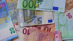 Euro Banknotes Back Side Rotating Stock Footage