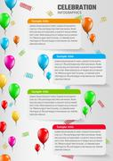 celebration infographics with balloons - stock illustration