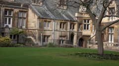 Cambridge University England courtyard garden 2 pan 4K Stock Footage