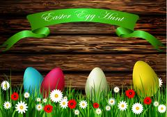 Easter egg hunt with Wood texture - stock illustration
