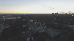 Aerial view Casa Loma camera rotating during sunset Stock Footage