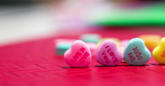 Heart candies with love messages written on them 4k Stock Footage