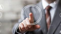 Businessman pressing modern technology panel fingerprint print icon - stock footage