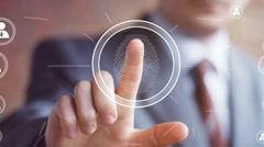 Businessman pressing modern technology panel fingerprint print - stock footage