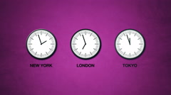 New York, London and Tokyo time, world time zones Stock Footage