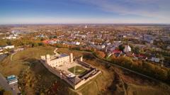 Aerial of the Rakvere castle in Estonia Stock Footage