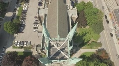 Aerial view United Church vertical angle wedding party entering Stock Footage