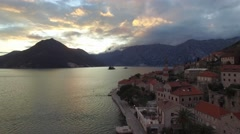 Aerial view of Perast city in Kotor bay on the sunset Stock Footage