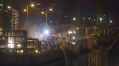 Engineers working on construction site of bridge, New York City Stock Footage